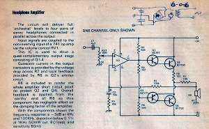 Headphone amplifier circuit from ETI magazine