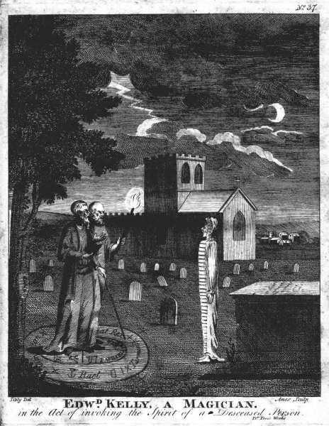 John Dee and Edward Kelley evoking a spirit.
